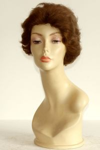 available for rent: short brown wig, curly human hair, single knotted to lace top