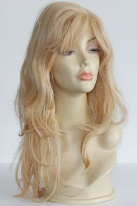 available for rent: ash blonde human hair wig, very thick and dense hair (180%), curly, very natural nad glamourous look